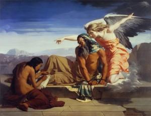 「預言者エレミヤ」神が「エルサレムが廃墟になる」という預言を、若者に書き留めさせているアンリ・レーマン1842年